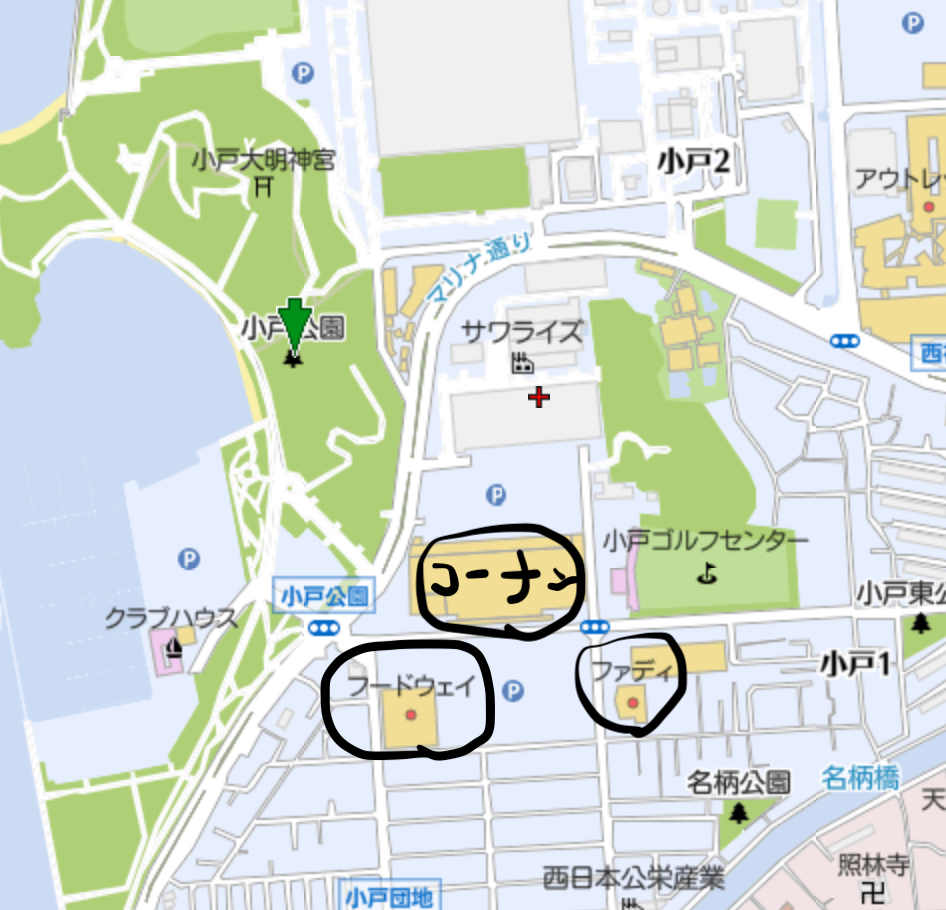 福岡の子連れ花見のコーナンやダイソーが近くにあって便利な地図の画像