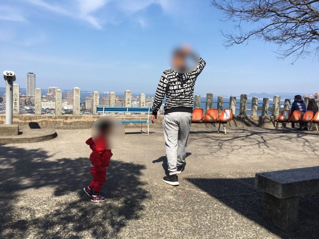 福岡市愛宕神社に子連れで花見に行った空が綺麗な画像