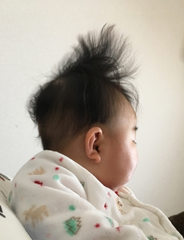 赤ちゃん散髪デビューの画像
