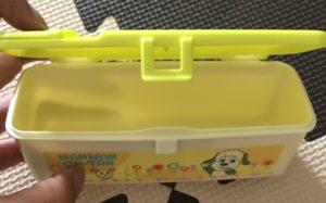 ダイソーの赤ちゃん用品いないいないばぁ!のお菓子入れを開いたら画像
