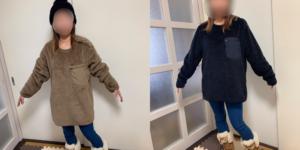 フリースプルオーバーのメンズLサイズ(黒)とメンズXLサイズを女性が着用して比較した画像