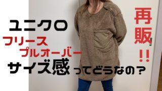 ユニクロのフリースプルオーバー再販!LやXLのサイズ感を女性が着用画像で紹介画像