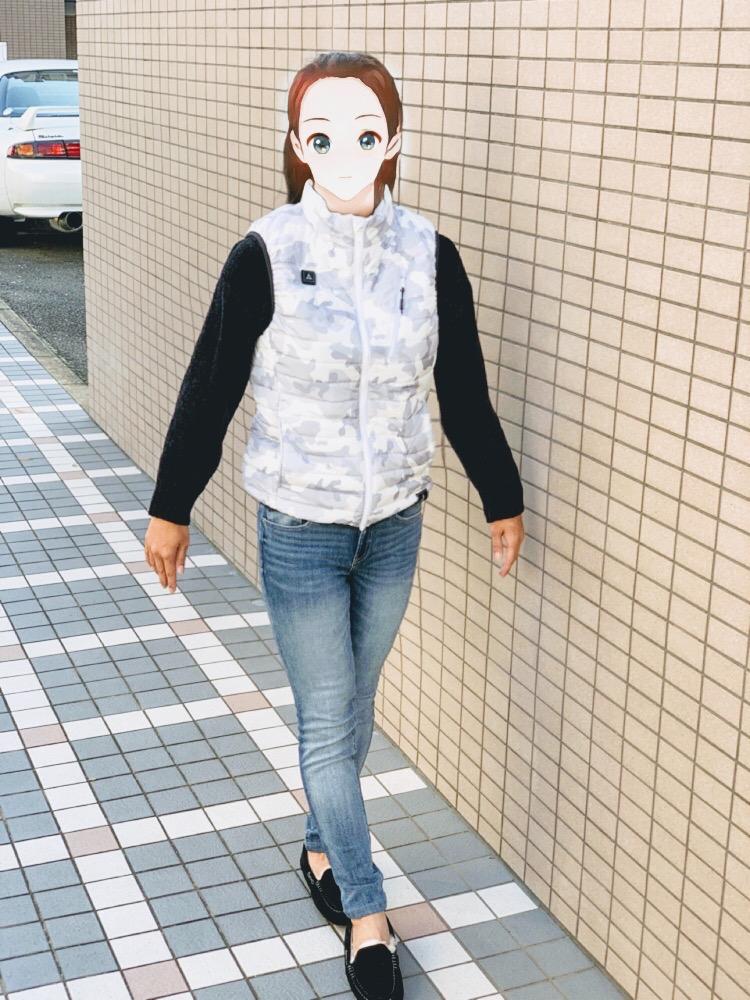 ワークマンの着るコタツヒーターベストの着用画像