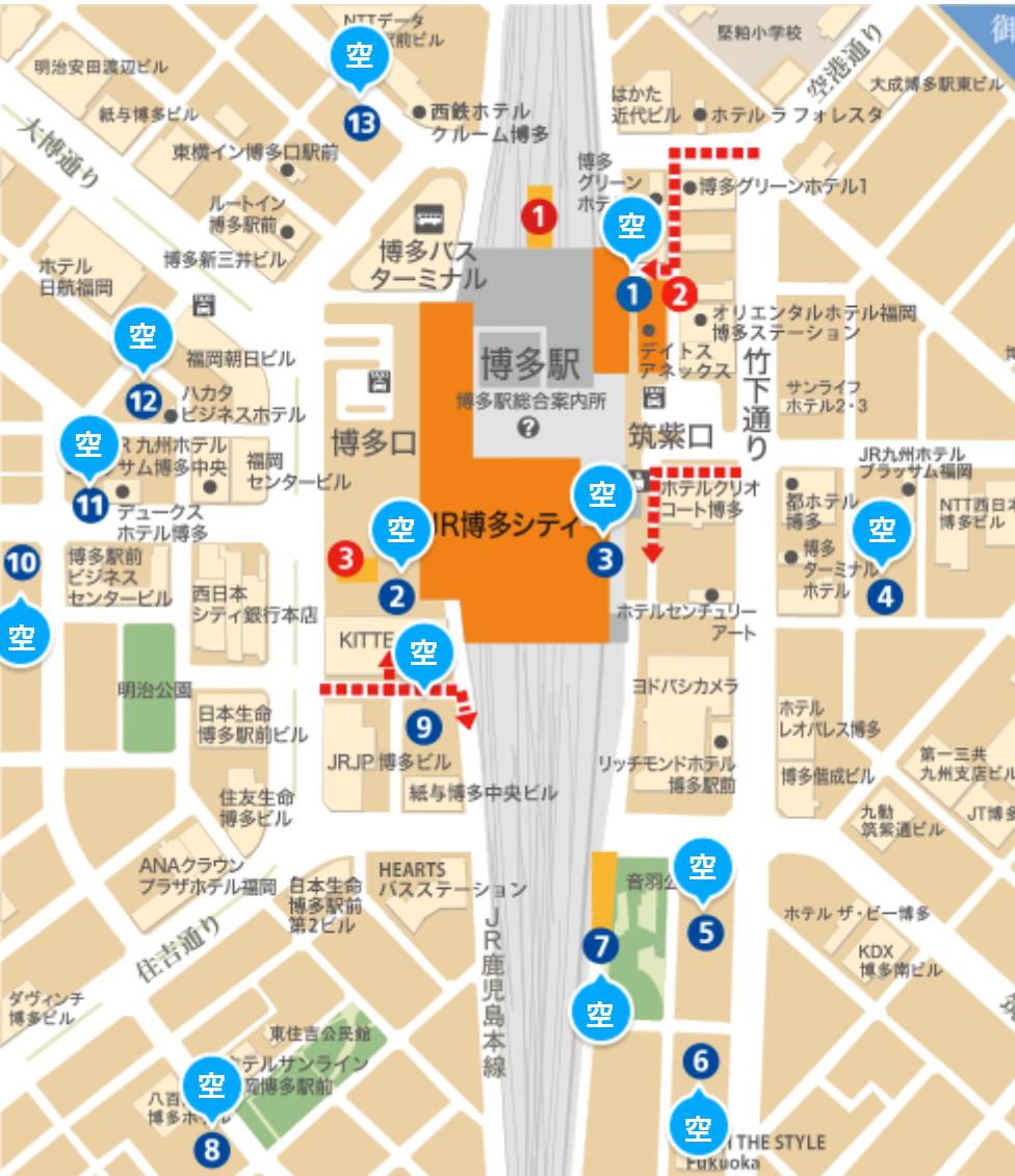 鬼滅の刃全集中展福岡の駐車場の地図画像