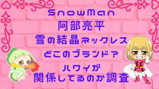 阿部亮平ネックレス・雪の結晶はどこのブランド?ハワイが関係してるのか調査画像